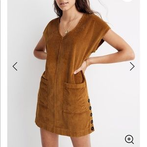 Madewell corduroy side button shift dress